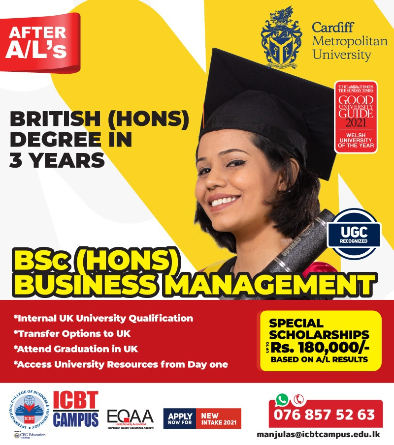 After AL, attain 3 Year British (Hons) Degree in Business at ICBT Campus with Scholarships