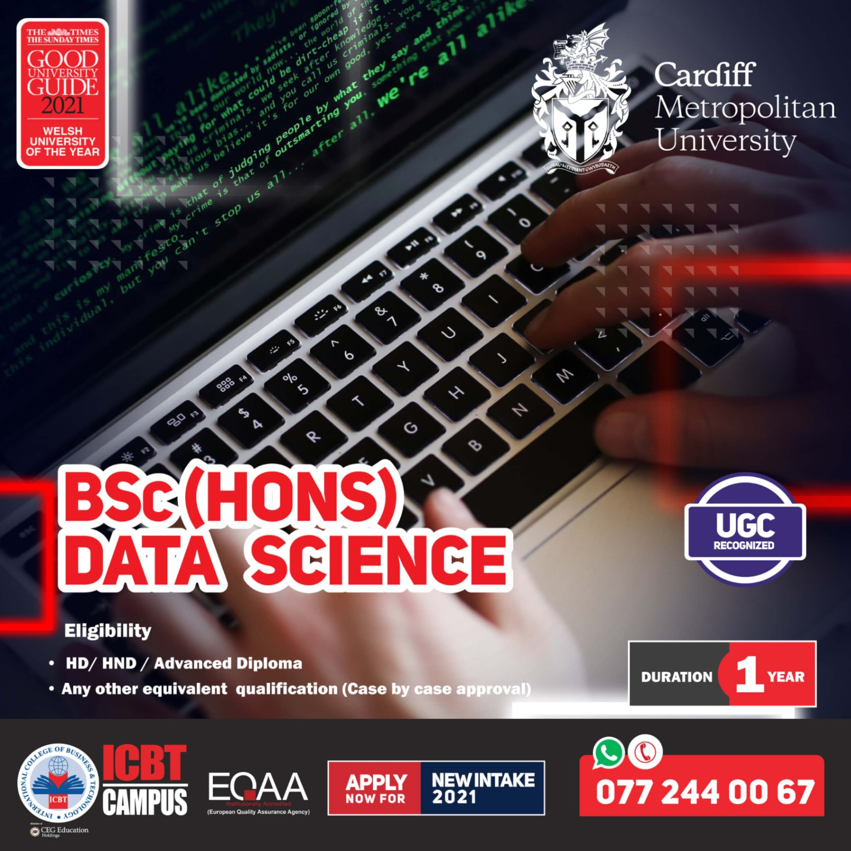 Enroll Now for BSc (Hons) Data Science (Top Up) Degree