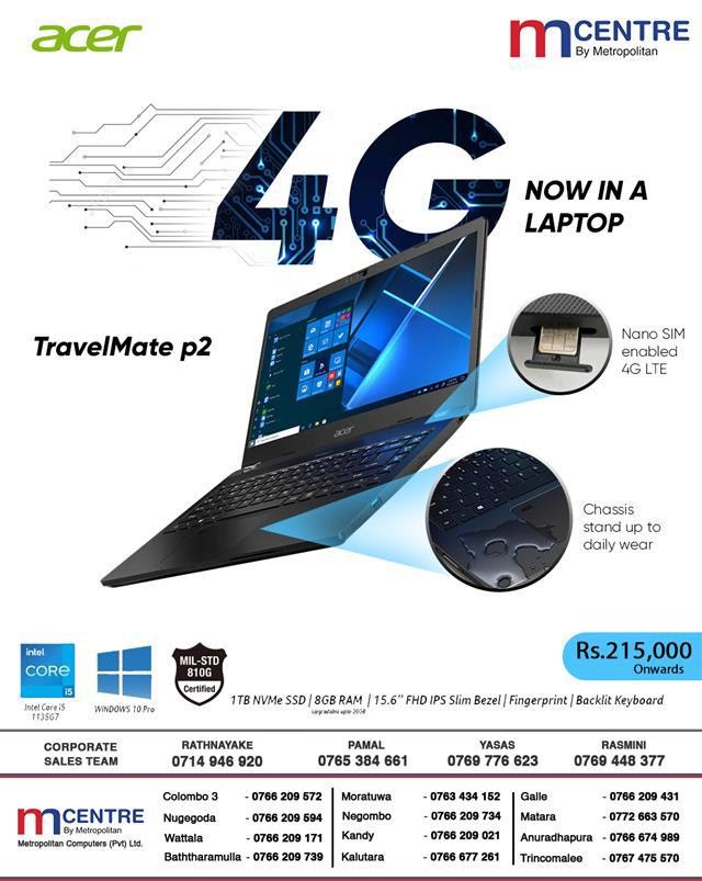 4G NOW IN A LAPTOP – Acer TravelMate p2