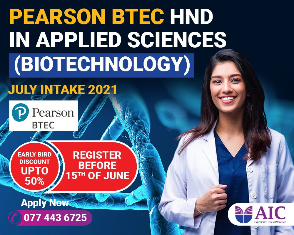 Pearson BTEC HND in Applied Sciences (BIOTECHNOLOGY) up to 50% Scholarship