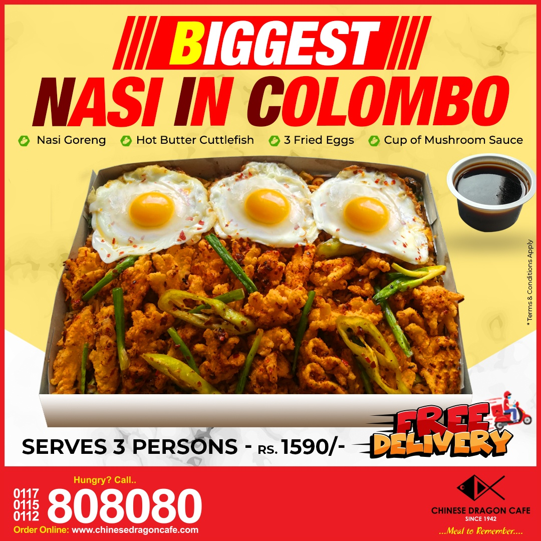 Biggest Nasi in Colombo (Rs. 1590/ for 3)