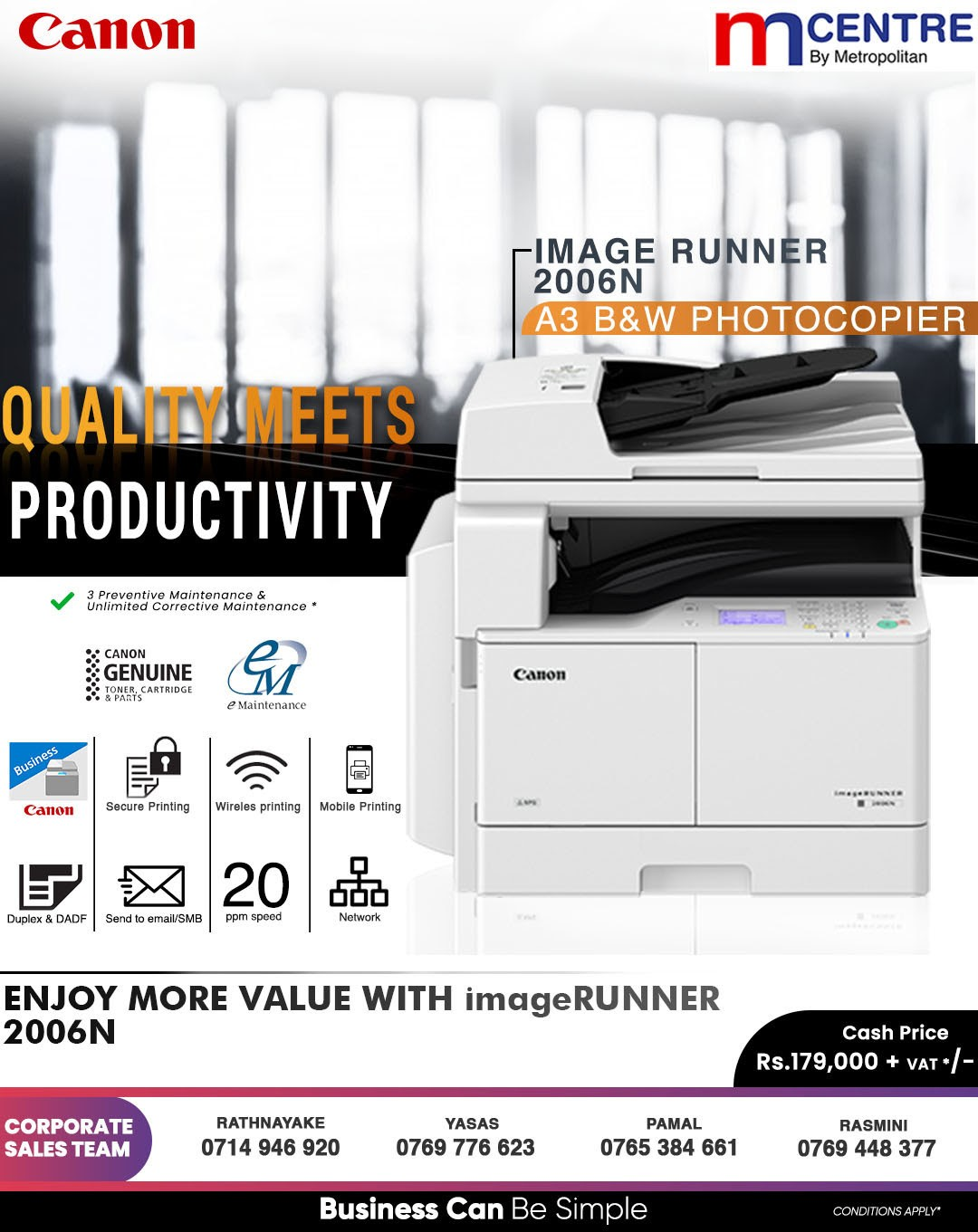 Enjoy More Value with ImageRUNNER 2006N B&W A3 Photocopier