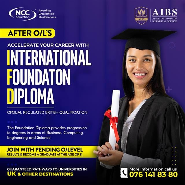 Are you after O/L? Complete the International Foundation Diploma and get access to 80+ universities across the globe.