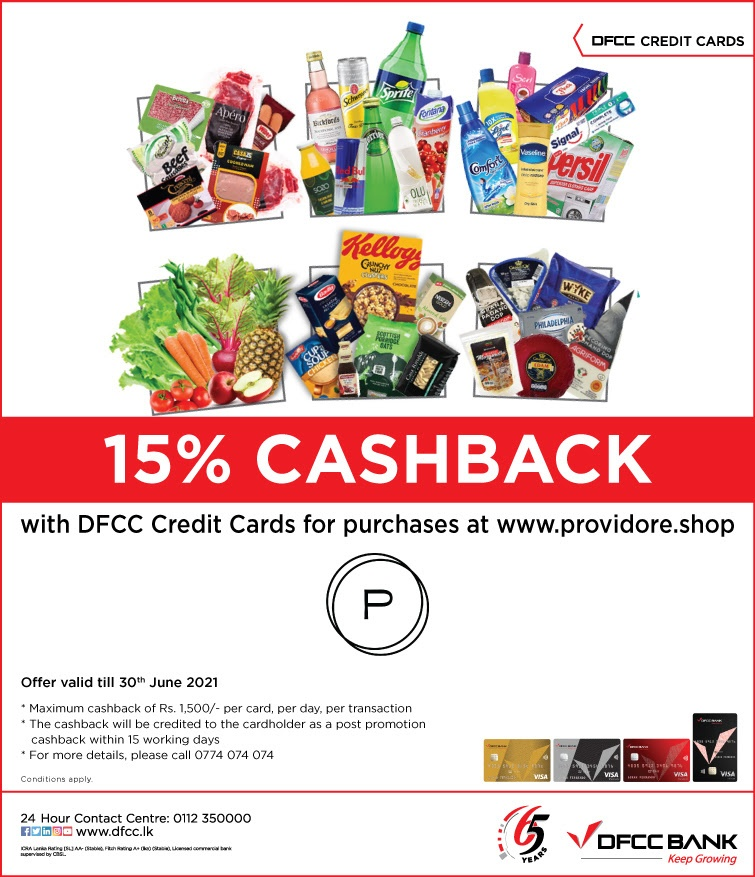 Enjoy 15% CashBack when you shop at providore.shop with DFCC Credit Cards!
