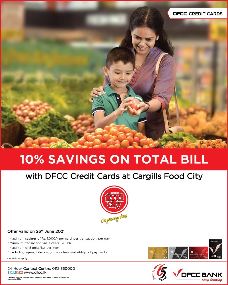 Enjoy 10% Savings at Cargills FoodCity with DFCC Credit Cards!