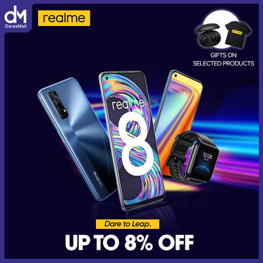 Dare to leap. Enjoy up to 8% off from the Realme DarazMall store.