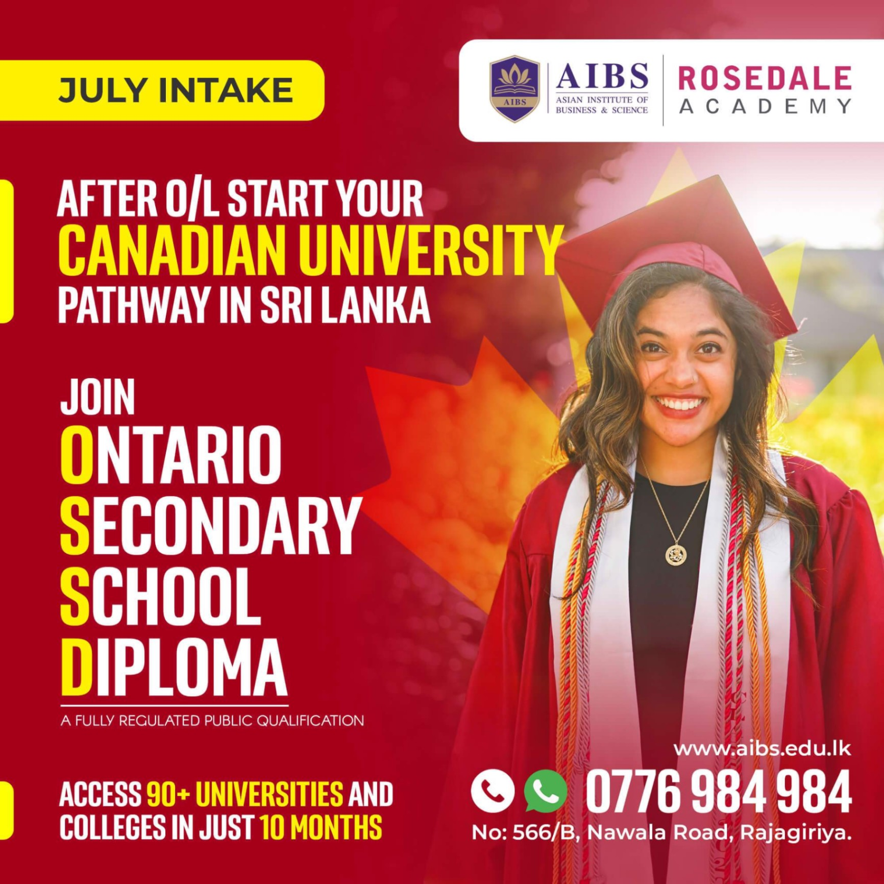 Reach Canada for bachelors with a Canadian qualification. Enroll now with pending OL results.