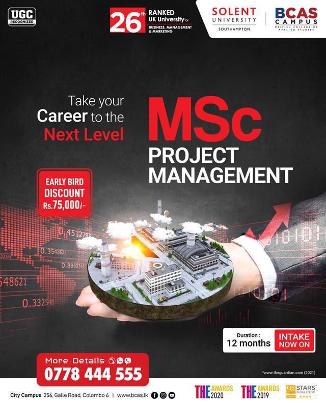 MSc Project Management - Awarded by Solent University, UK!