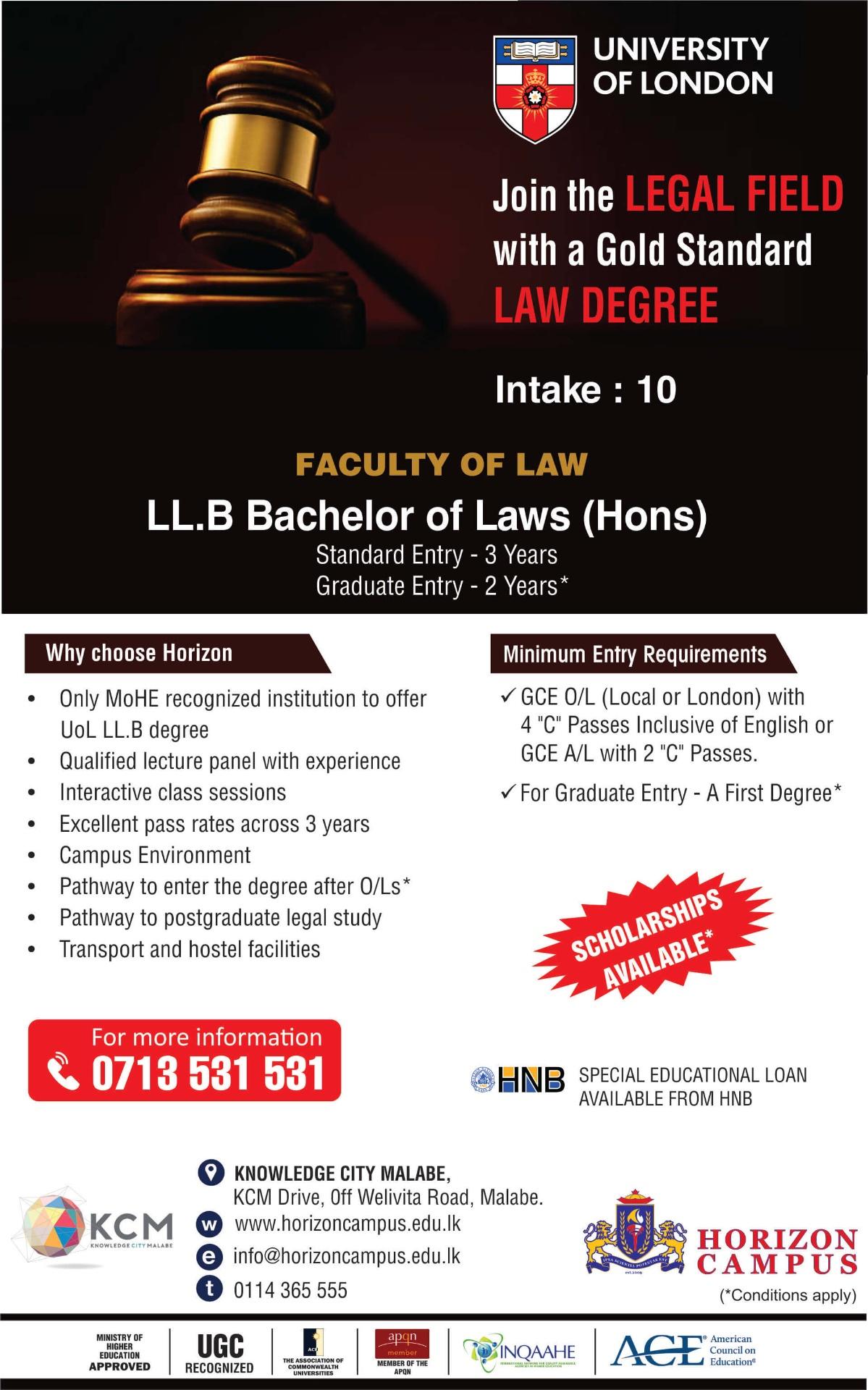 Study University of London LLB with Horizon Campus