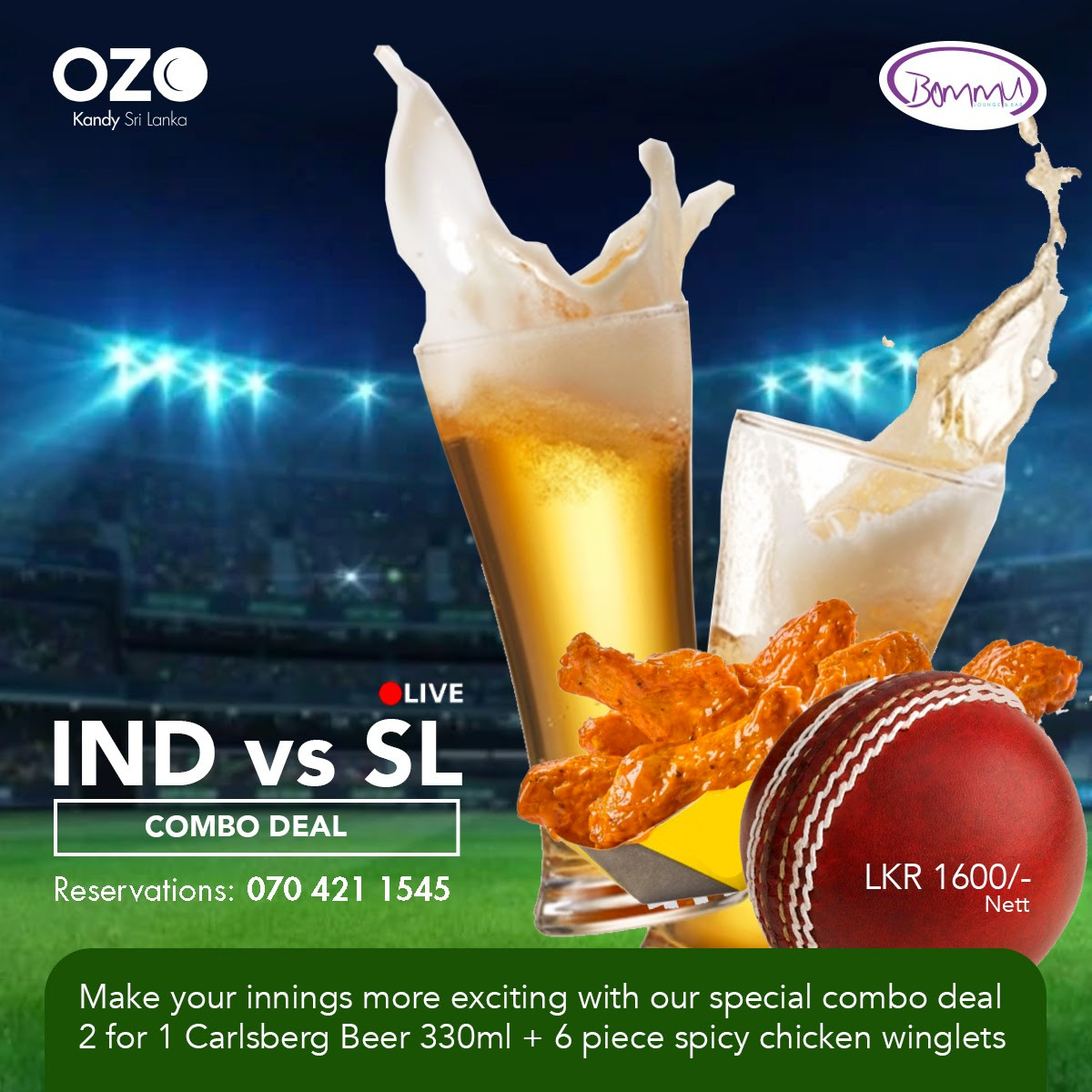 Special Combo Deal @ Bommu Lounge & Bar OZO Kandy