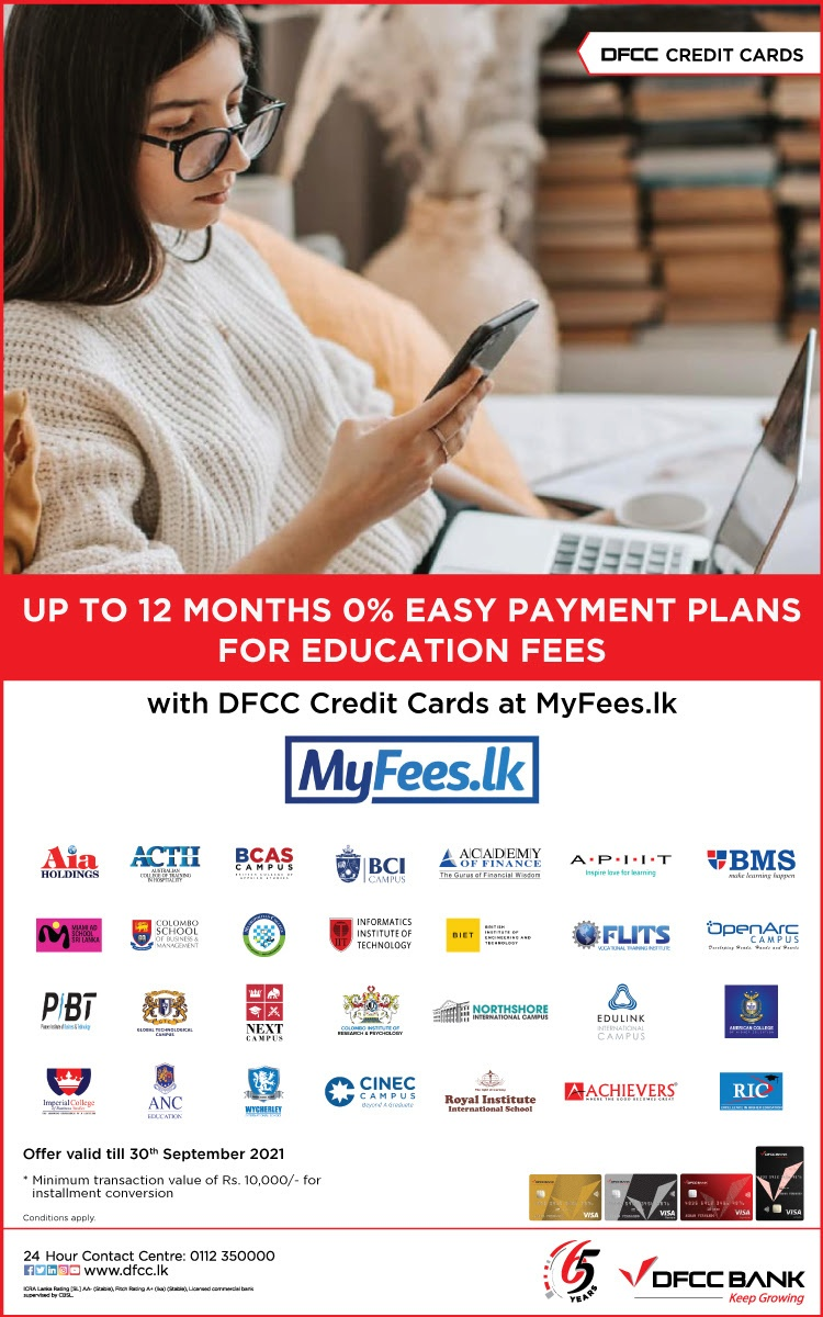 0% Easy Payment Plans at MyFees.lk with DFCC Credit Cards!