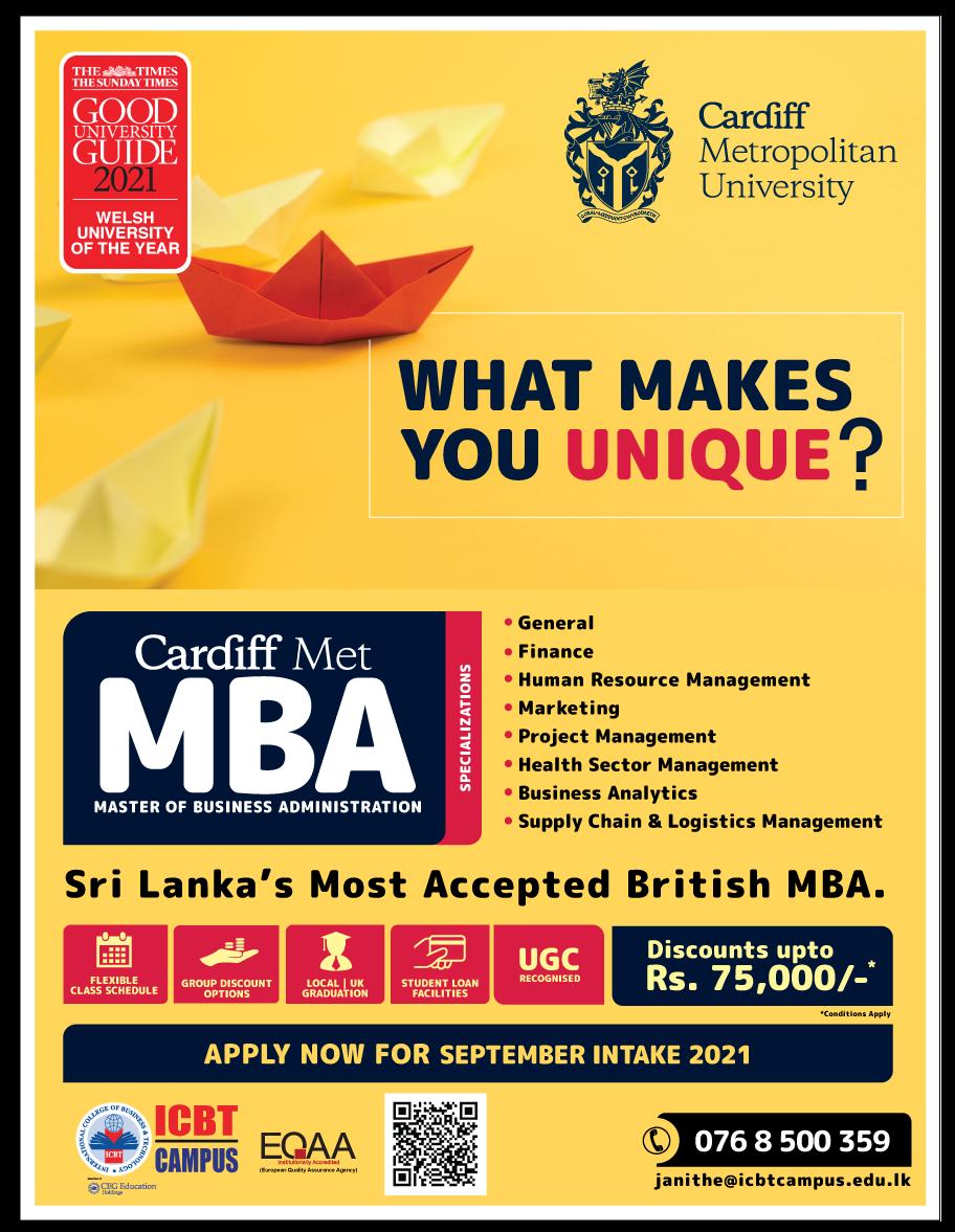 Sri Lanka's most accepted British MBA - September Intake