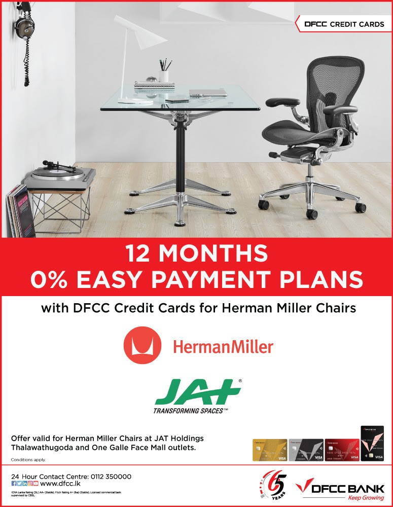 Enjoy 0% Easy Payment Plans on Herman Miller Chairs at JAT Holdings with DFCC Credit Cards!