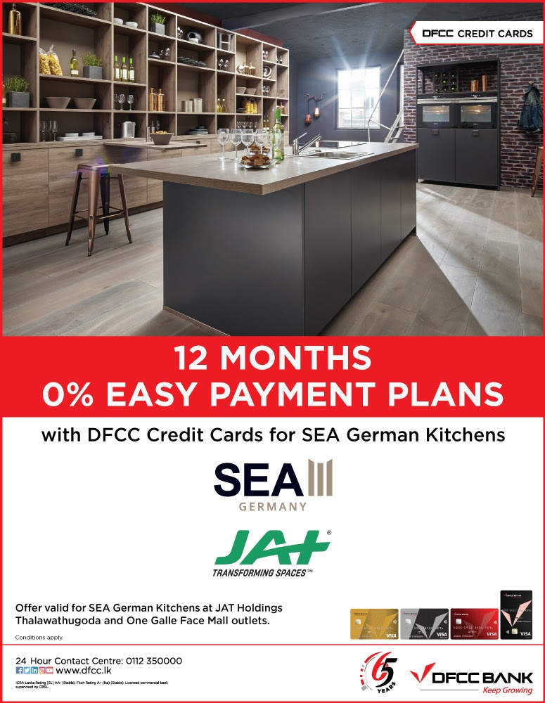 Enjoy 0% Easy Payment Plans on SEA German Kitchens at JAT Holdings with DFCC Credit Cards!