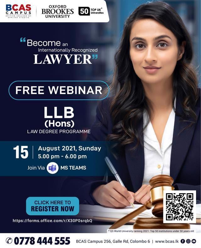 FREE WEBINAR   LLB Law (Hons) - awarded by Oxford Brookes University, UK!