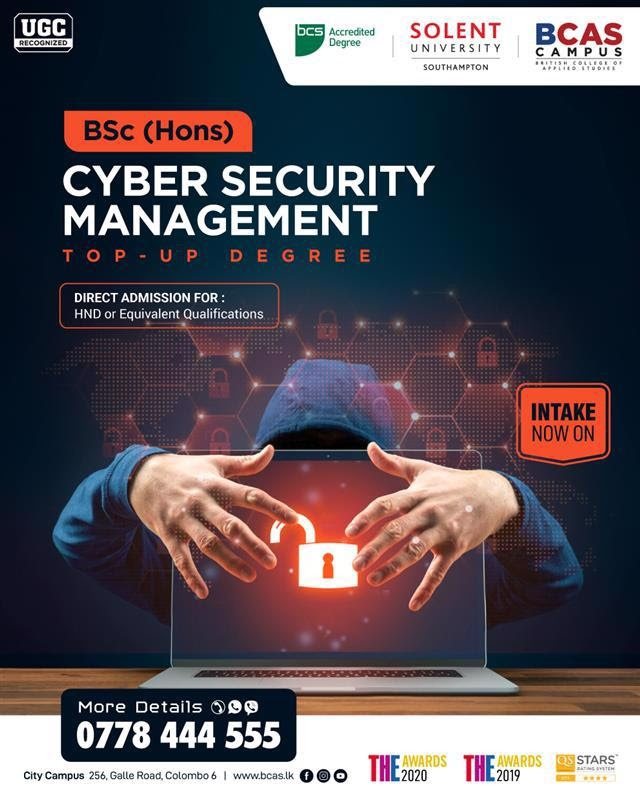 BSc (Hons) Cyber Security Management - Awarded by Solent University, UK!