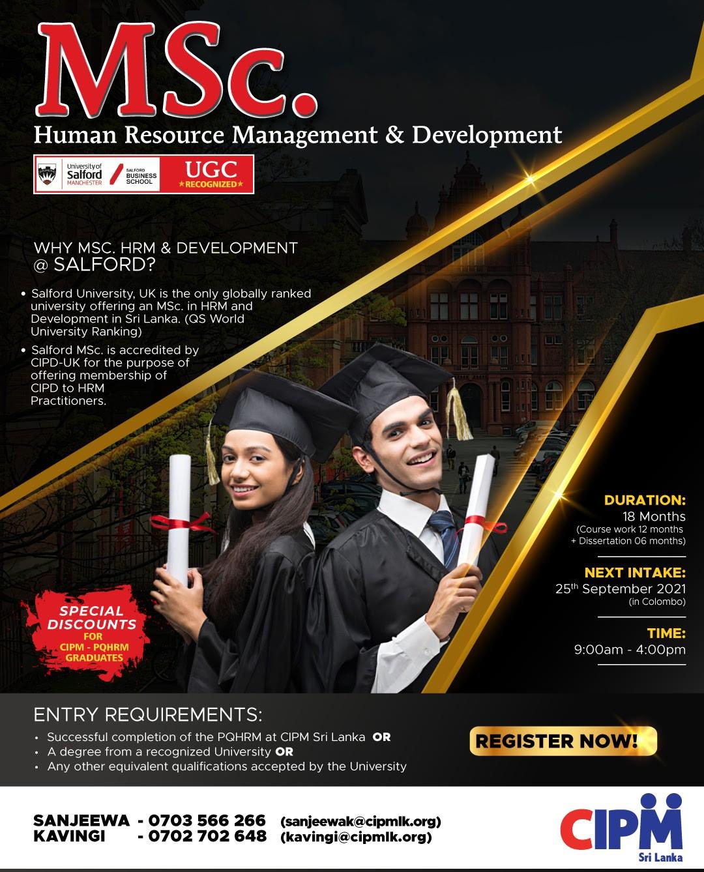 MSc from UK renowned Salford University