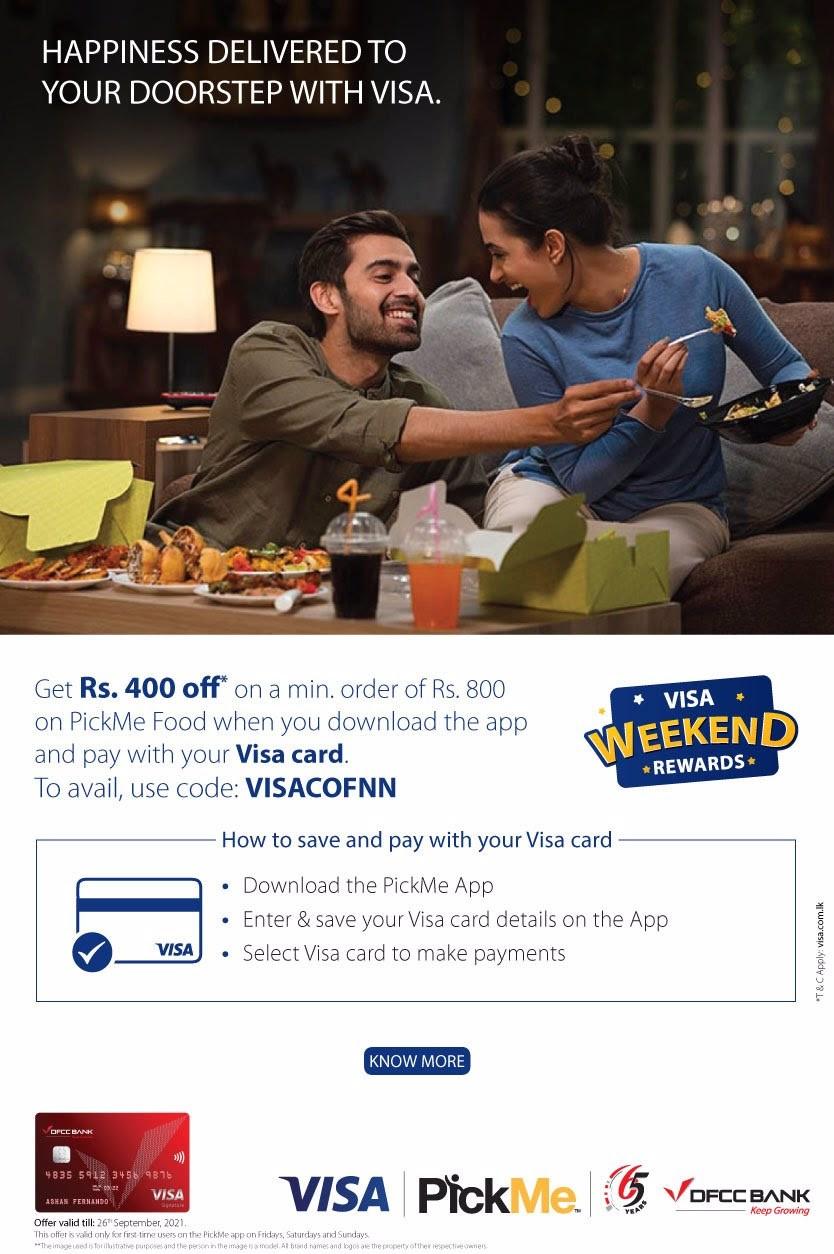 Get Rs. 400/- OFF on PickMe Food with DFCC Visa Credit & Debit Cards!