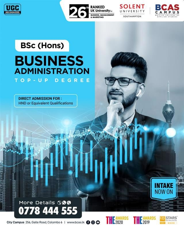 BSc (Hons) Business Administration Top-up Degree - awarded by Solent University, UK