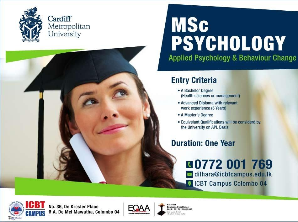 MSc Applied Psychology & Behaviour Change -Applications open for September 2021 Intake