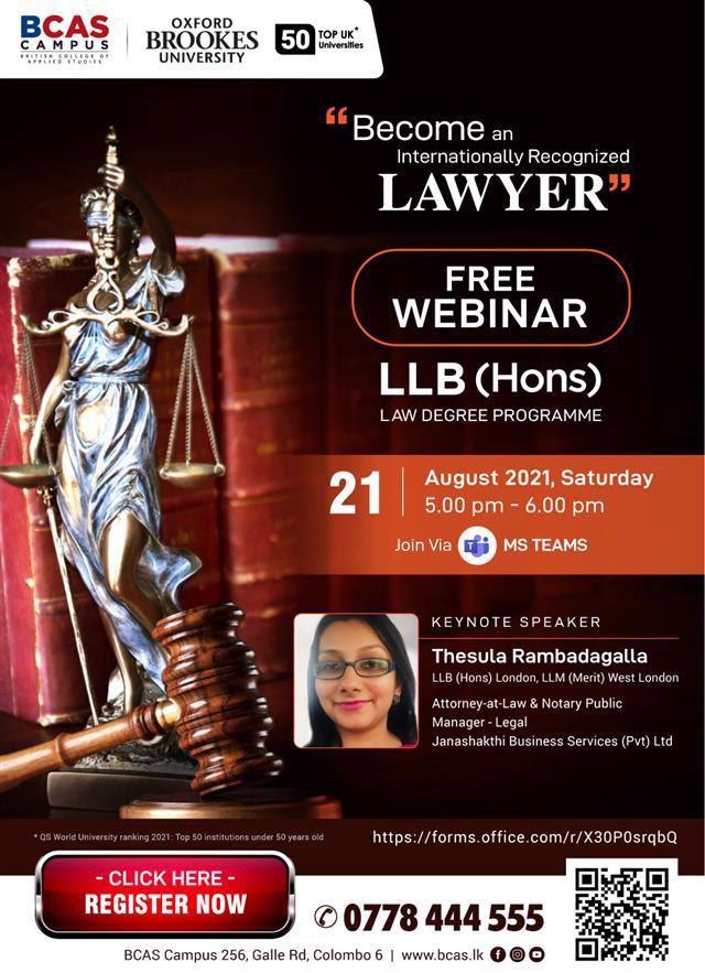 FREE WEBINAR | LLB Law (Hons) - awarded by Oxford Brookes University, UK!!