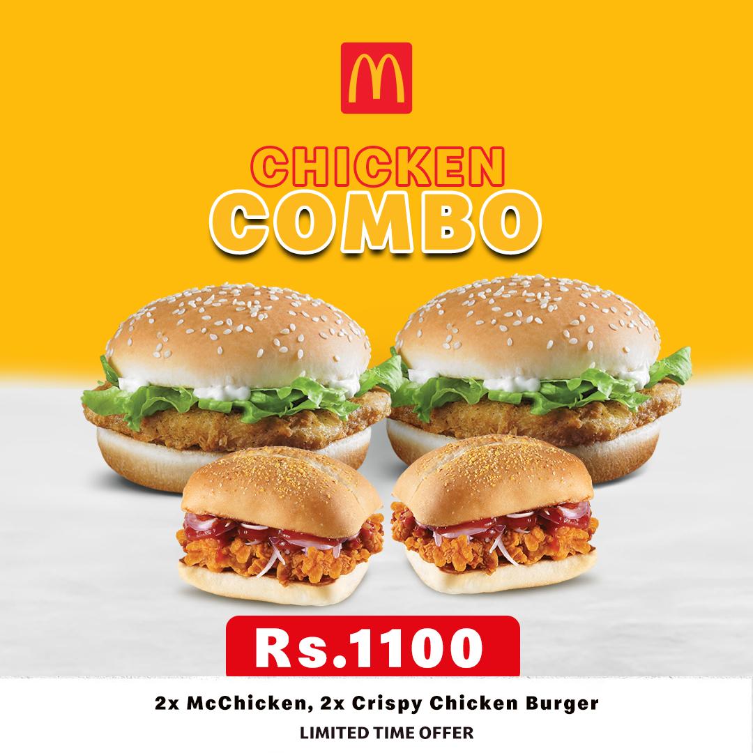 2 × MC Chicken, 2 × Crispy Chicken Burgers, for just 1100/=
