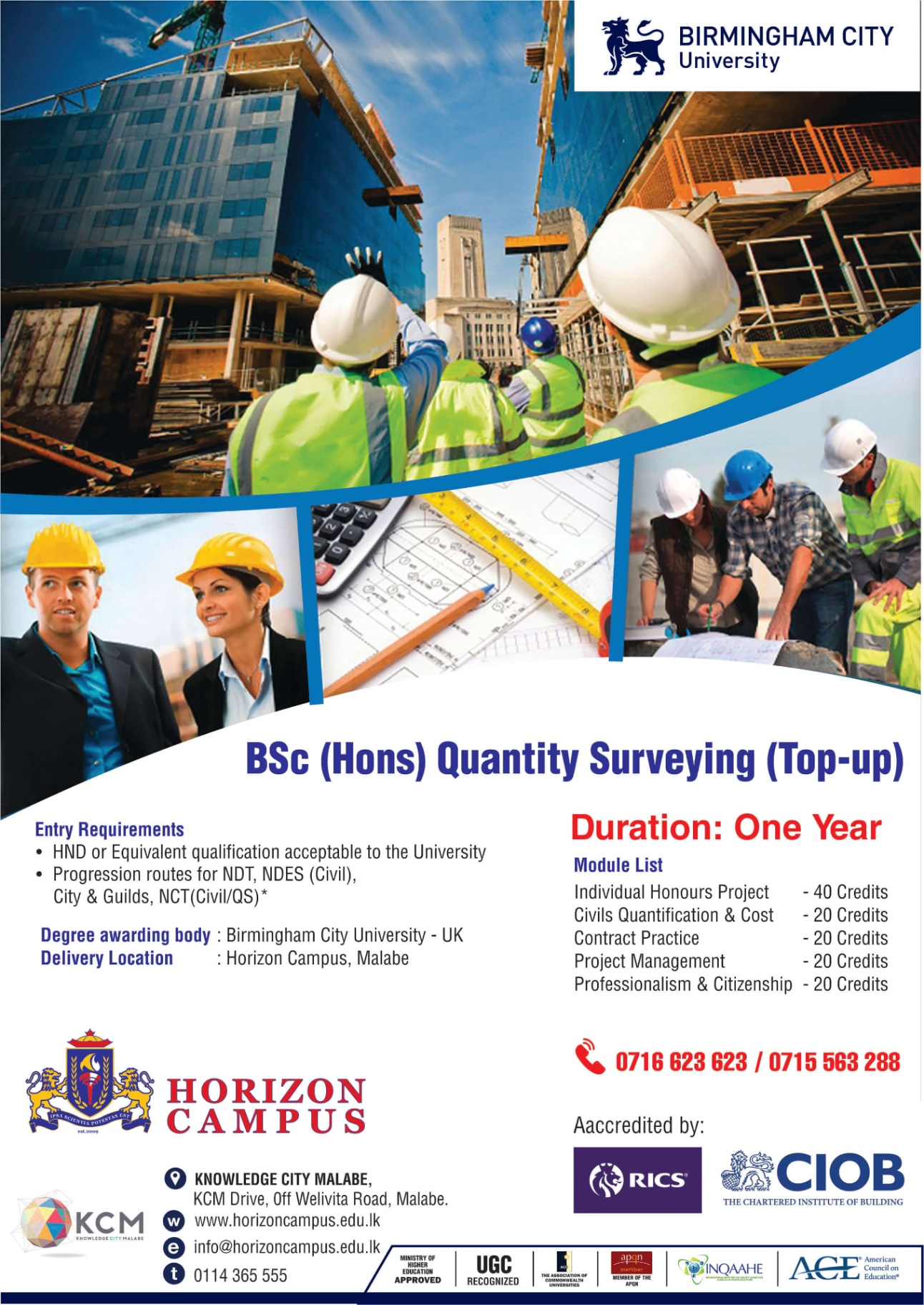 BSc (Hons) Quantity Surveying (Top-Up)