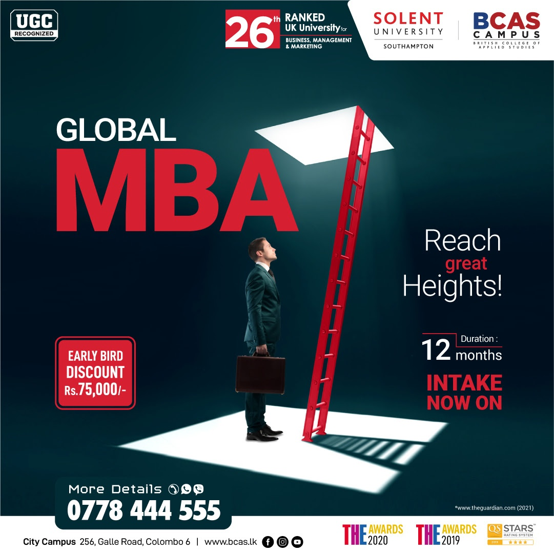 Global MBA - awarded by Solent University [26th Ranked UK University for Business & Management]