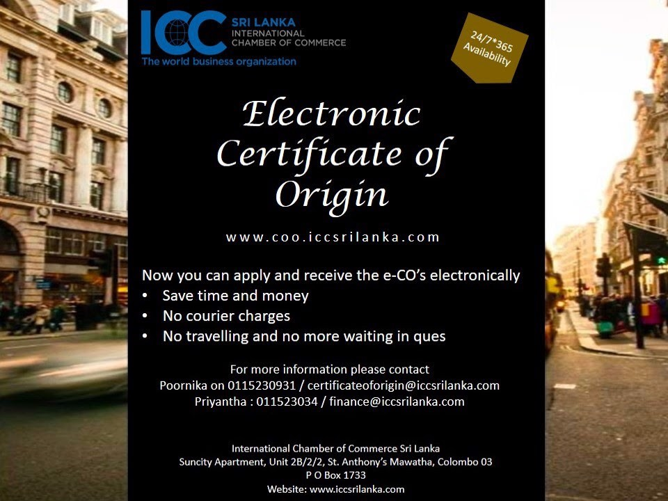 Electronic Certificate of Origin - 24/7/365