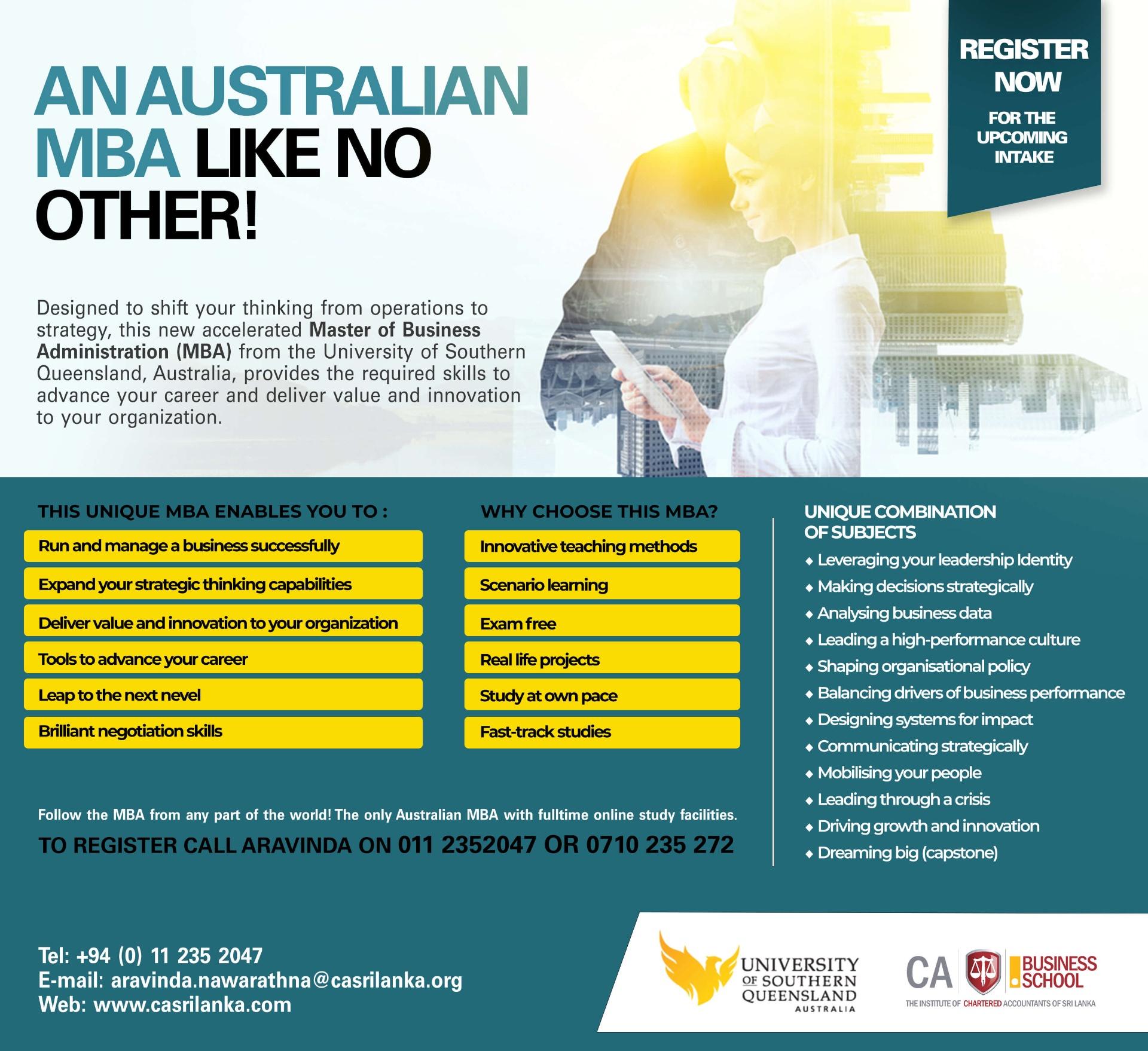 An Australian MBA Like No Other