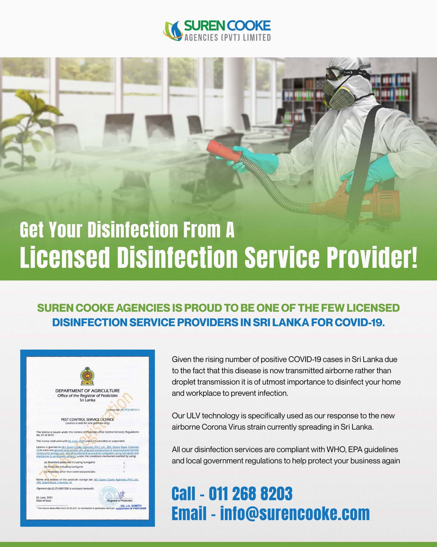 Disinfection Services from Suren Cooke Agencies