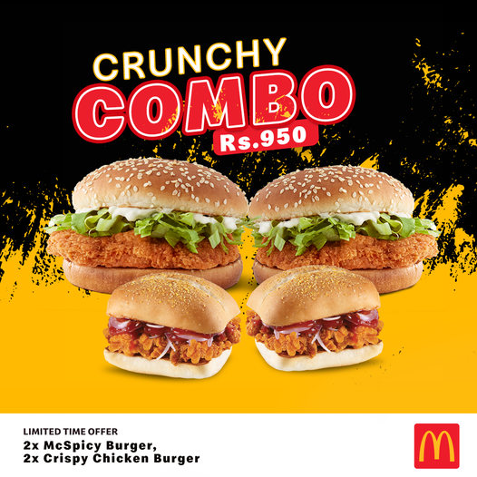 2 McSpicy Burgers, 2 Crispy Chicken Burgers Just Rs.950/=.