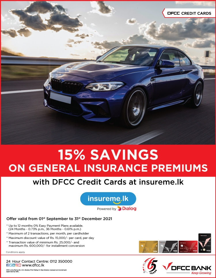Enjoy 15% savings at insureme.lk with DFCC Credit Cards!