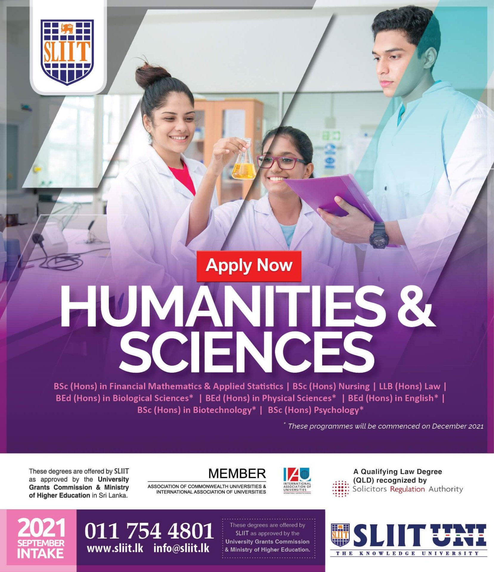 Bachelor's Honours Degrees in Humanities & Sciences at SLIIT