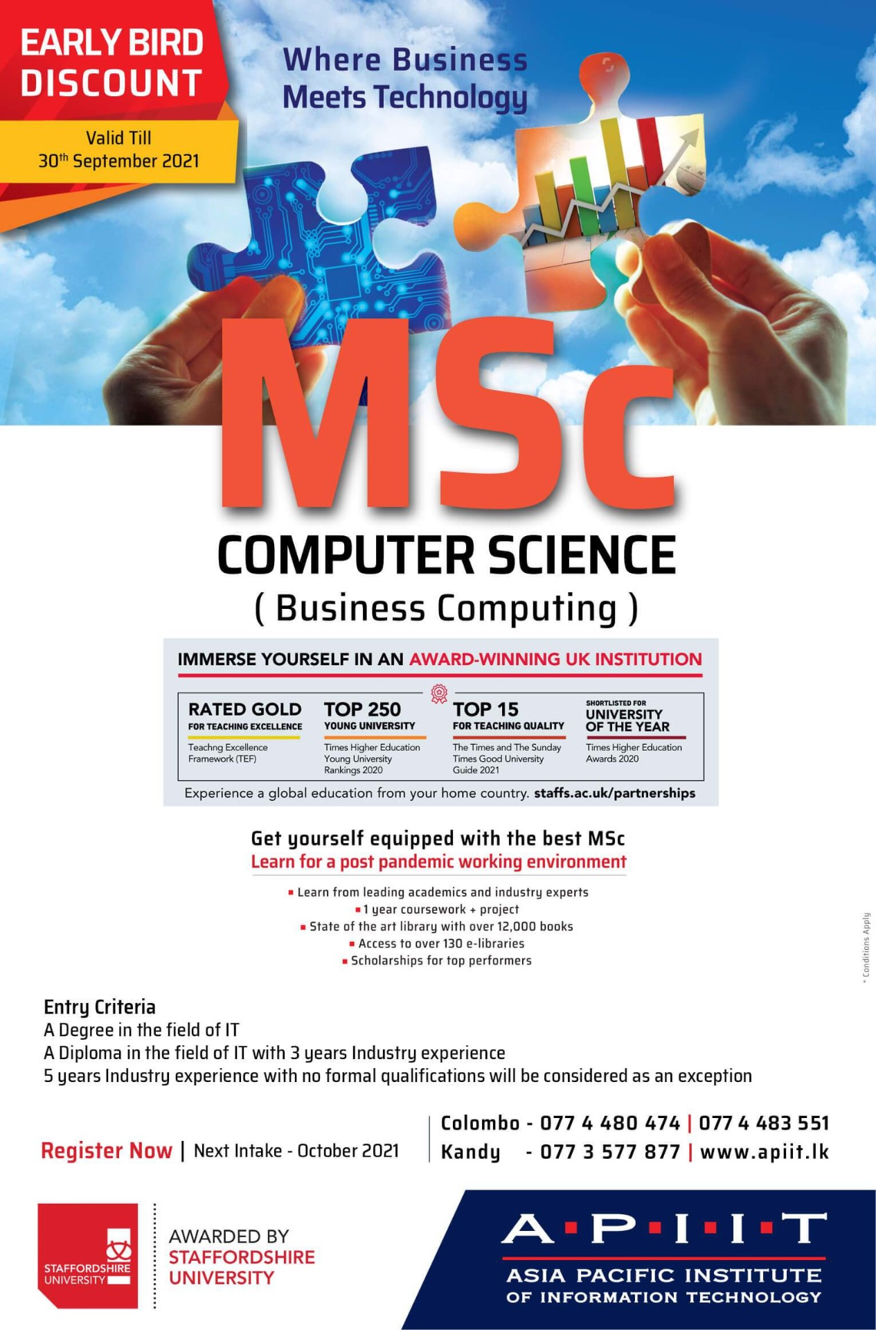 Get a British MSc from Staffordshire University!