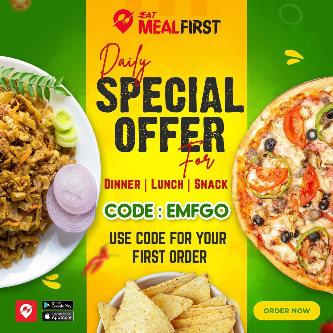 Eat MealFirst -  Daily Special Offer for dinner, lunch & snack , Use code for your first order, CODE: EMFGO