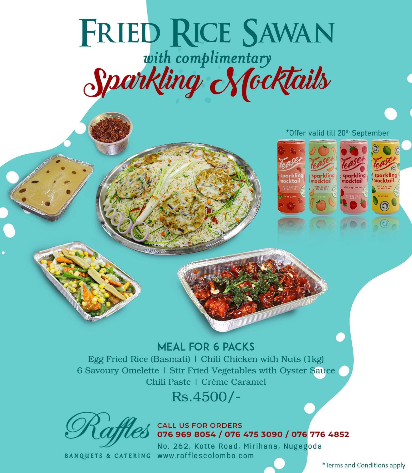 Fried Rice Sawan with Sparkling Mocktails