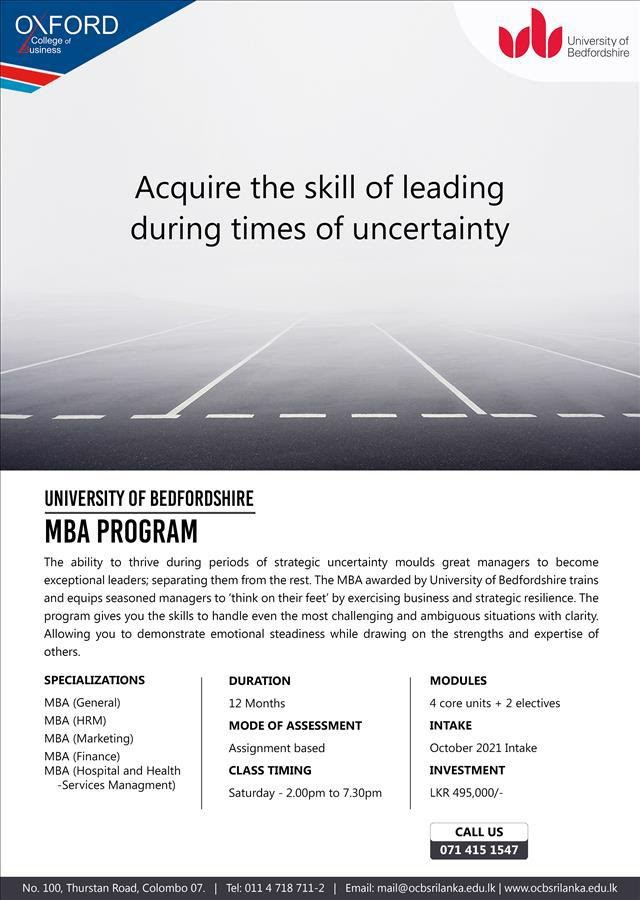 12 Month MBA – October 2021 Intake