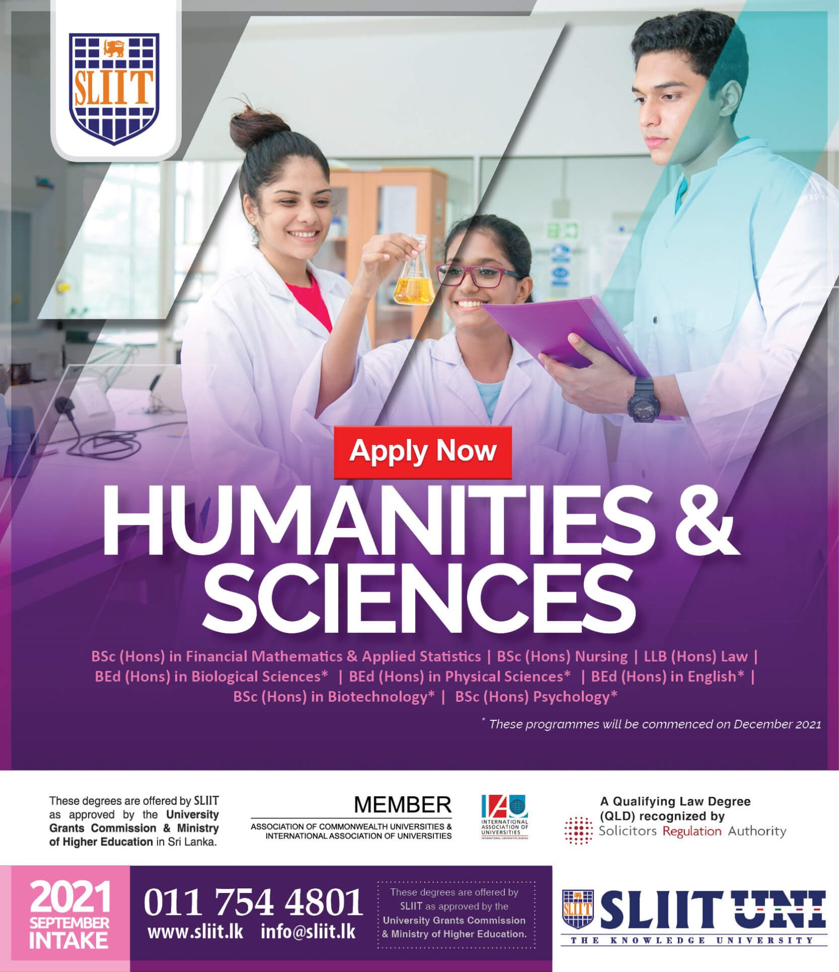 Apply Now for Humanities & Sciences Degrees at SLIIT