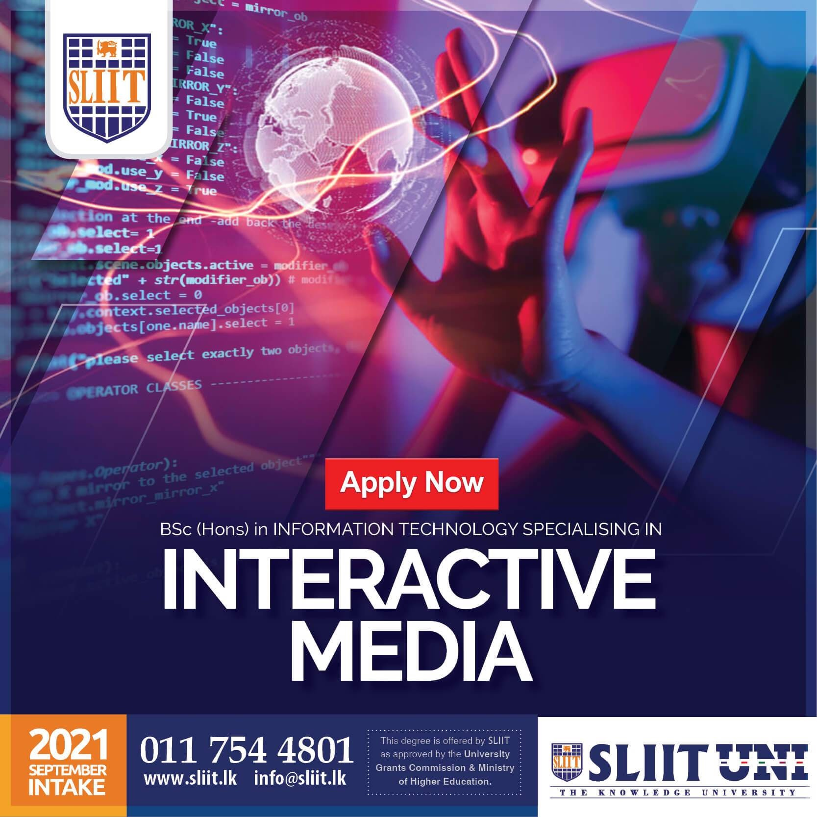 BSc (Hons) in Interactive Media Degree now at SLIIT