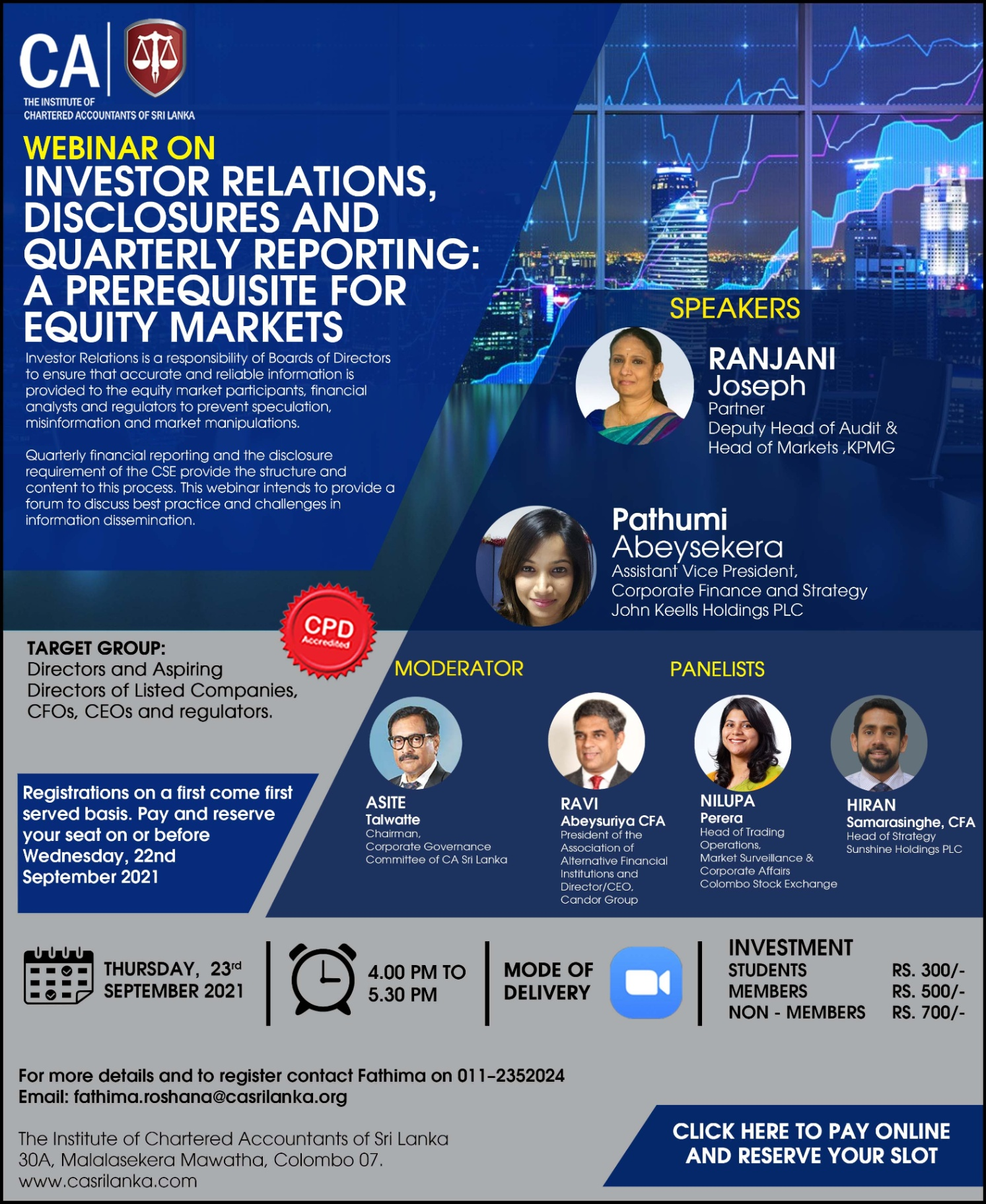 """Webinar on """" Investor Relations, Disclosures and Quarterly Reporting: A Prerequisite for Equity Markets"""""""