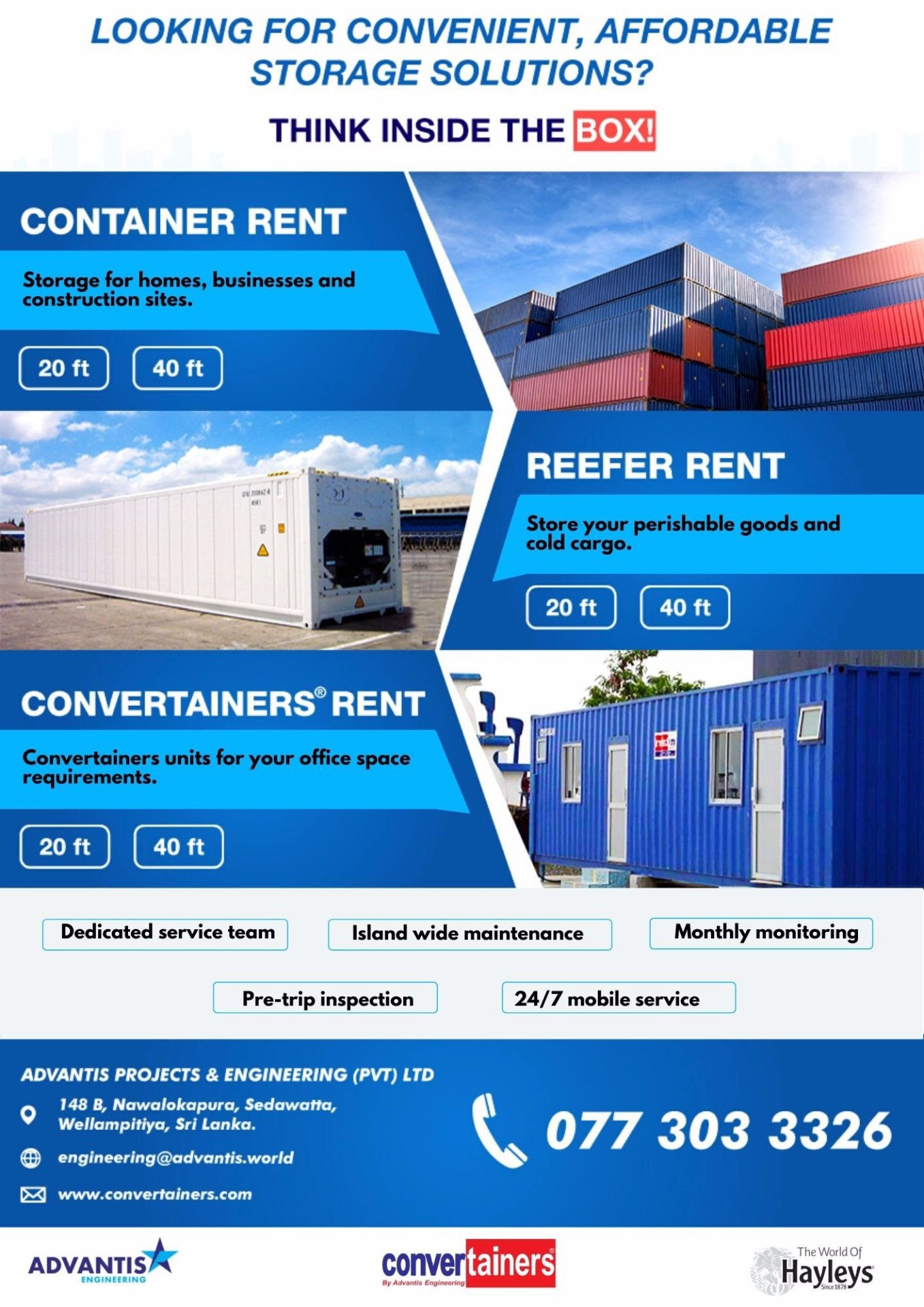 Convertainers. container and reefer rent from Advantis Engineering!