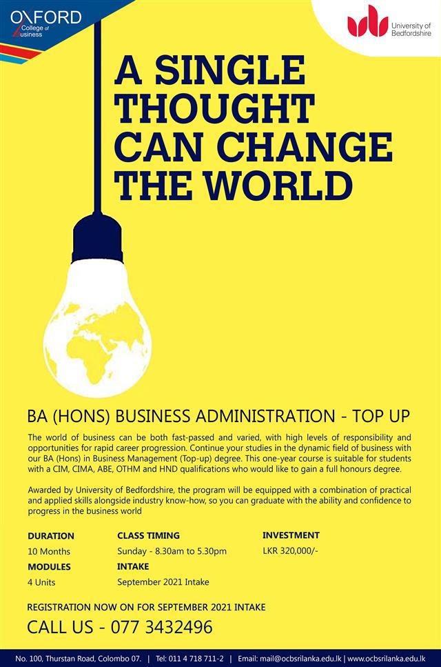 BA (Hons) Top-Up - September Intake