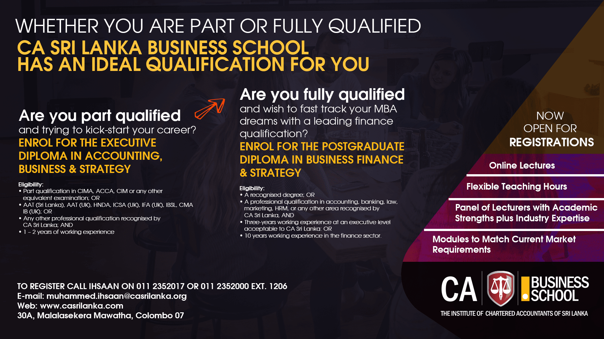 Whether You Are Part or Fully Qualified - Join CA Business School