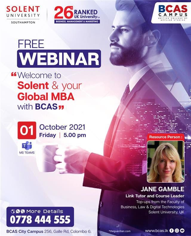 Free Webinar - Welcome to Solent & your Global MBA with BCAS