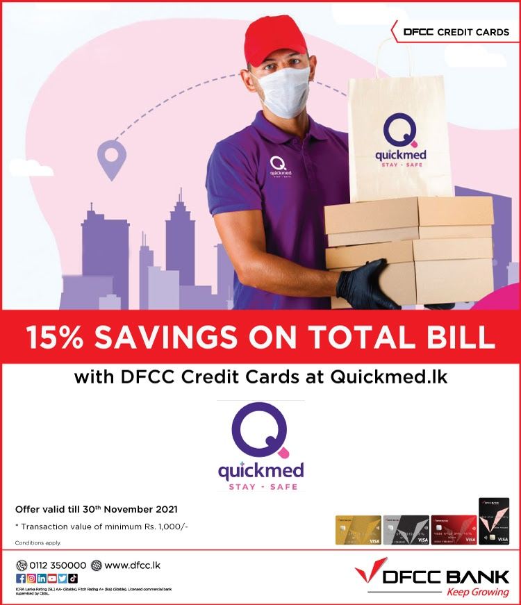 Enjoy 15% Savings at Quickmed.lk with DFCC Credit Cards!