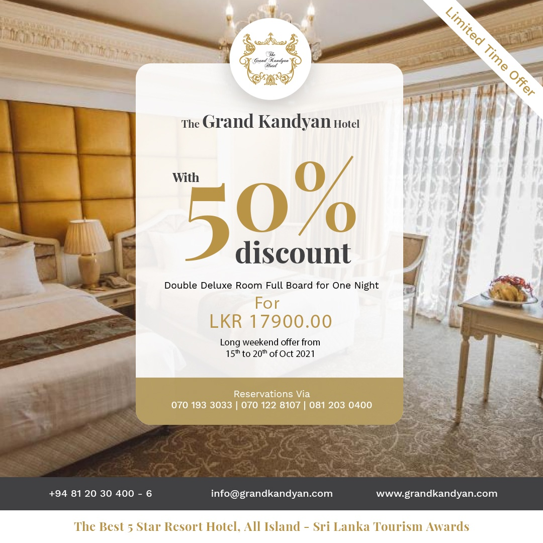 The Grand Kandyan Hotel with 50% discount