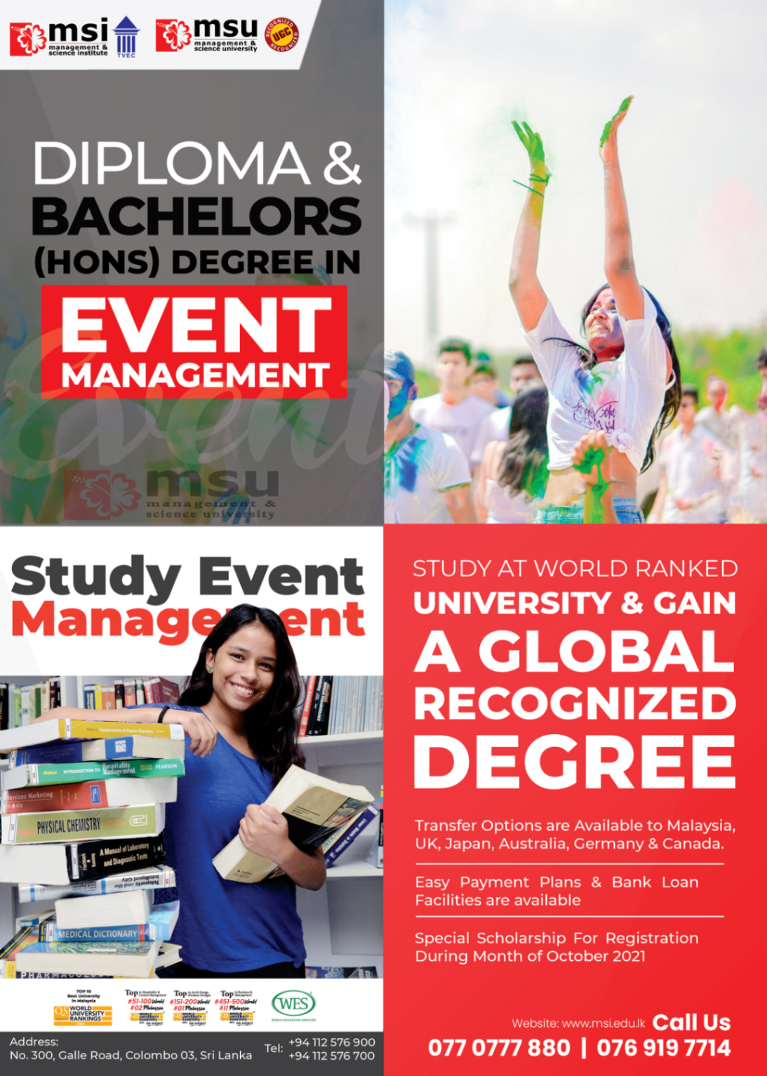 Diploma & Bachelors (HONS) Degree in Event Management