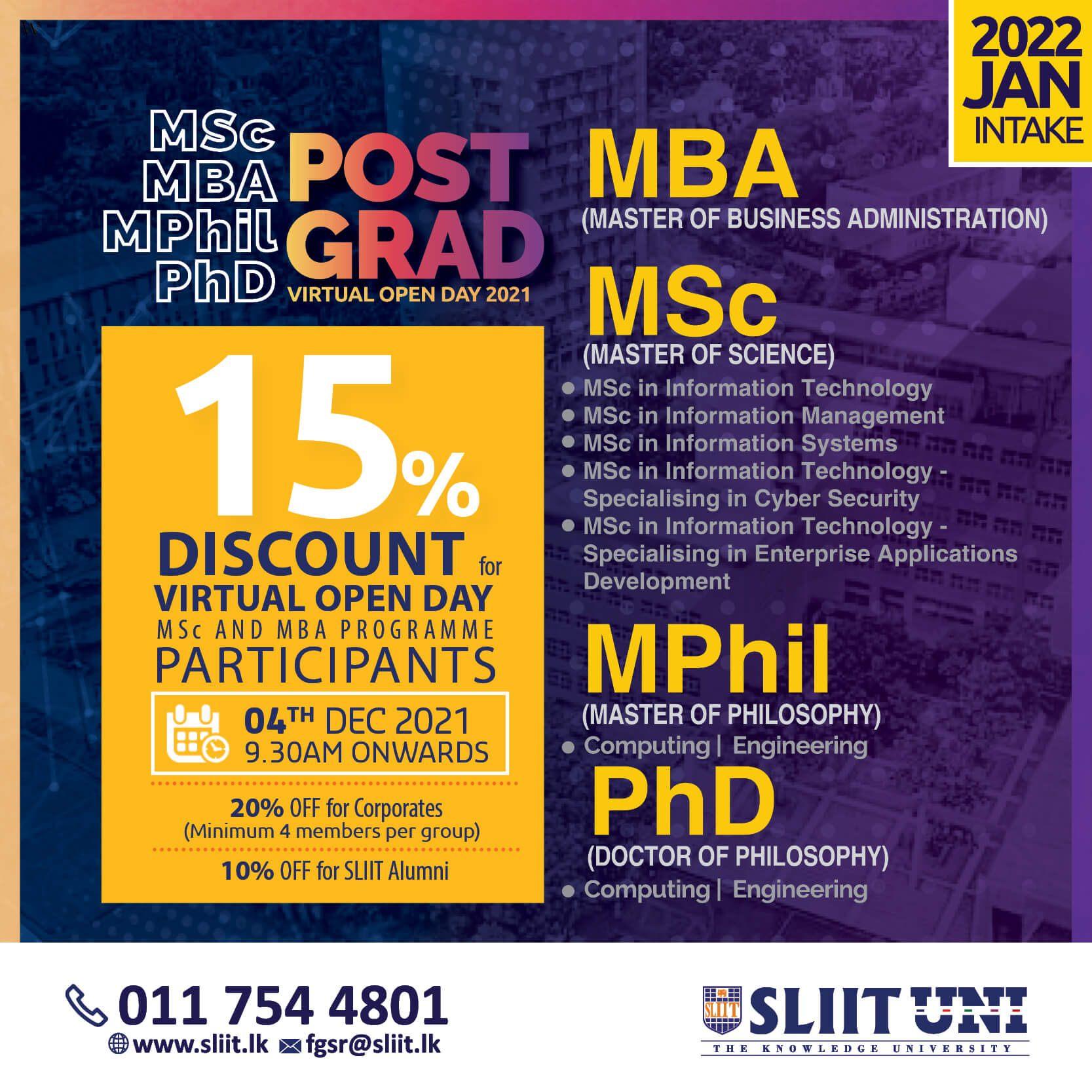 Postgraduate Studies & Research Programmes @ SLIIT