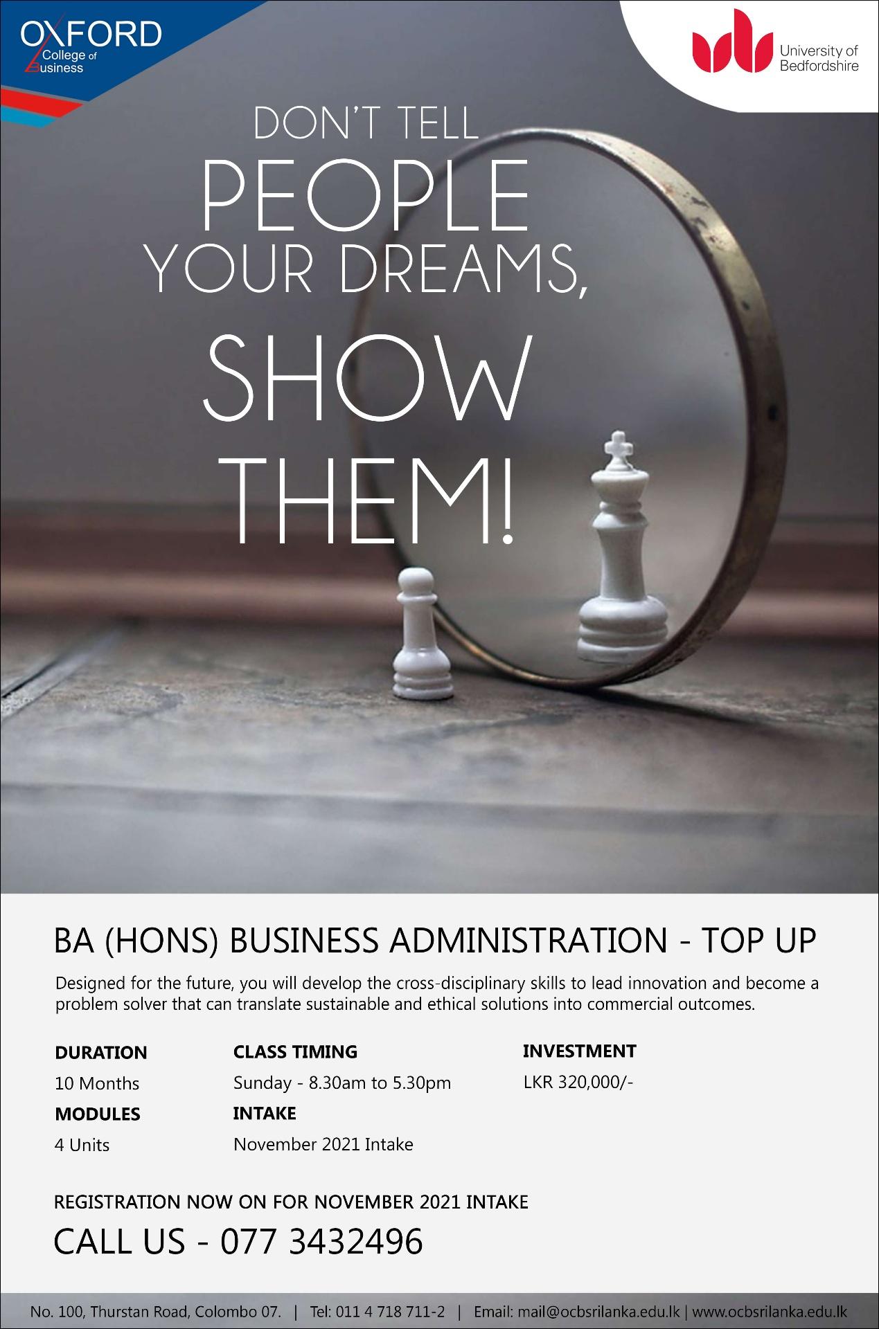 BA (Hons) Top-Up - November Intake